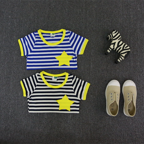 2016 brand style 2-8 Years children kids baby boys girls t shirts summer new striped children kids short sleeve stars t shirts