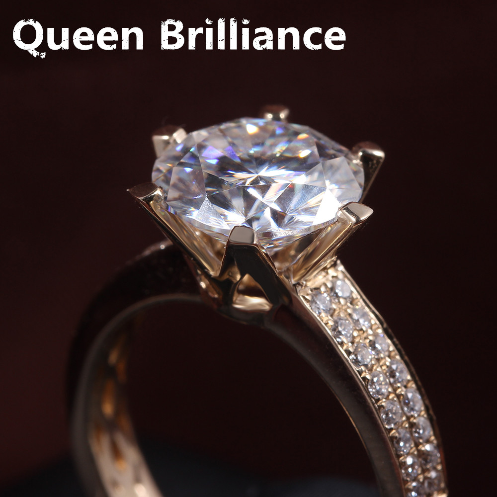 3 Carat Ct F Color Engagement Wedding Lab Grown Moissanite Diamond Ring  With Real Diamond Accents