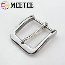Meetee 40mm Width Stainless Steel Belt Buckle Mens Metal Pin Cowboy Jeans Accessories DIY Leather Craft Hardware