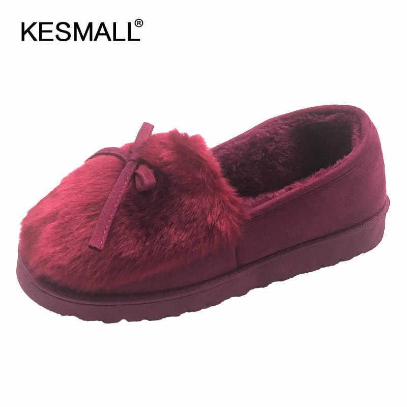 Zapatillas calientes de Interior de mujer corto de felpa primavera invierno casa zapatos planos Bowknot antideslizante casa femenina piso deslizantes en los zapatos
