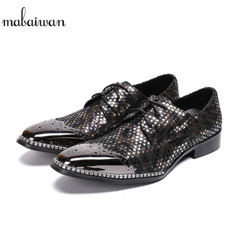 Mabaiwan Black Fashion Handmade Men Shoes Polka Dot Slipper Metal Toe Loafers Dress Wedding Shoes Men Lace Up Breathable Flats polka dot a line pin up dress