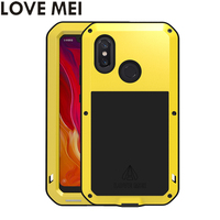LOVE MEI Powerful Phone Cases for Xiaomi Mi 8 Mi8 Cover Heavy Duty Shockproof Case Silicone TPU Hard Metal Cover Toughened Glass