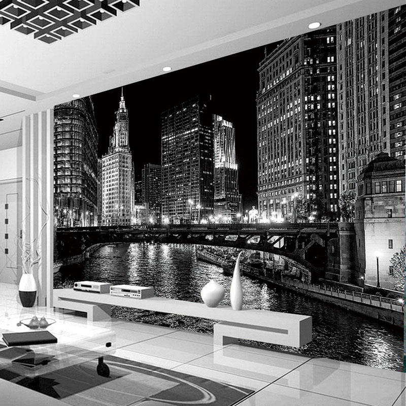 Custom 3D Mural Wallpaper Black And White City Night Landscape Murals Living Room TV Backdrop Wall Modern Simple Papel De Parede custom 3d photo wallpaper waterfall landscape mural wall painting papel de parede living room desktop wallpaper walls 3d modern