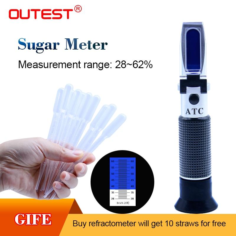 OUTEST RZ117 Numérique Mètre de Sucre 28-62% brix réfractomètre pour Sirop Sucre Contenu Alimentaire jus de fruits liquides ATC Refratometro