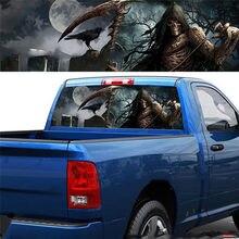 3D ponury żniwiarz Death Forest tylne okno naklejka graficzna samochód ciężarówka Van naklejka na SUV Pickup Horror Totem naklejki samochodowe