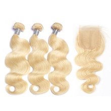 Brazilian Body Wave 3 Bundles Hair With Closure 613 Color Human Hair Blond Bundles With Closure Remy Hair Extensions Mornice(China)