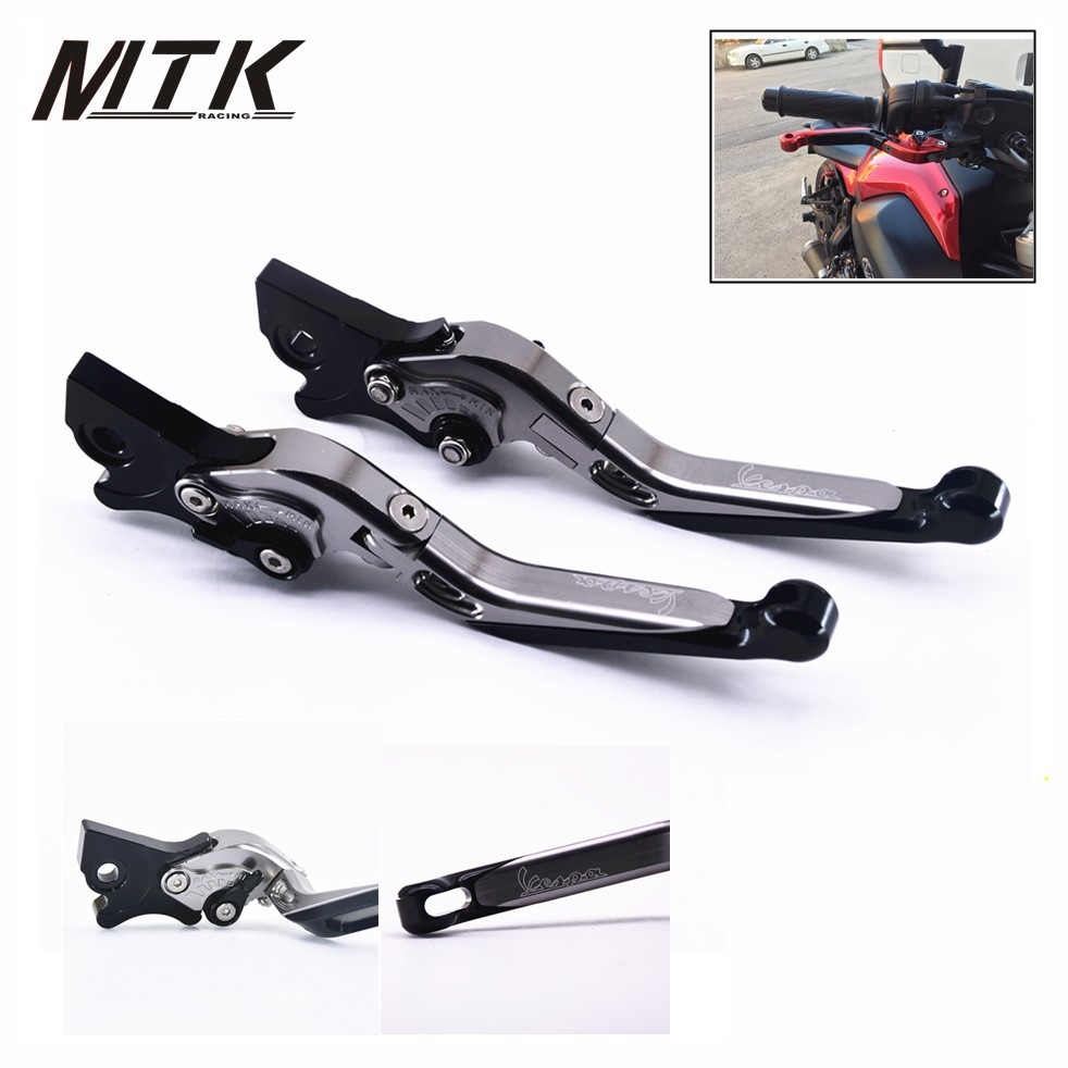 цена на MTKRACING CNC Folding&Extending Brake Clutch Levers For Vespa Granturismo 125/200 GTS 125/250 S125/150/300 Super
