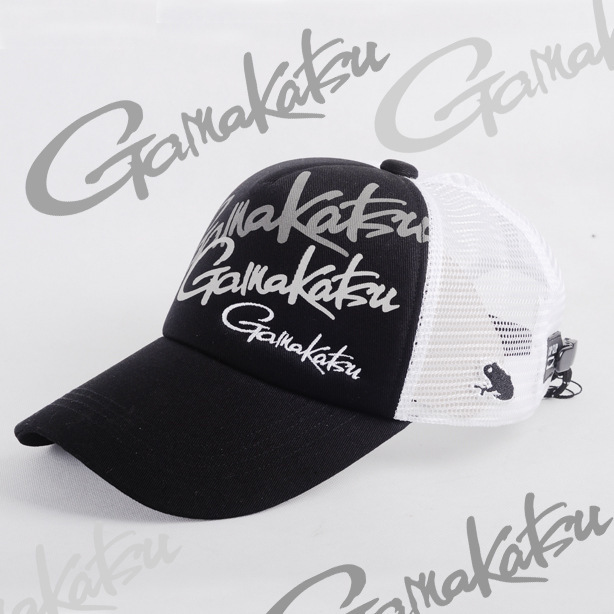 Adult Men Gamakatsu Black White Special Hat Adjustable Breathable Fishermen Fishing Hat Sunshade Sport Baseball Cap|Fishing Caps|   - title=