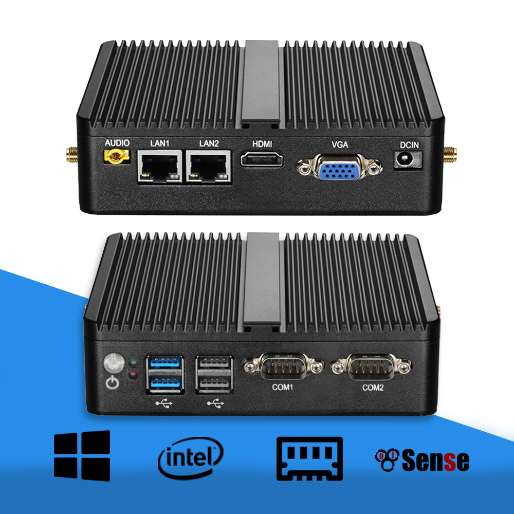 Mini PC Celeron J1900 Quad Core Windows 10 Dual LAN 2*COM Fanless Mini Computer Celeron J1800 N2810 NetTop 300M WIFI HDMI VGA image