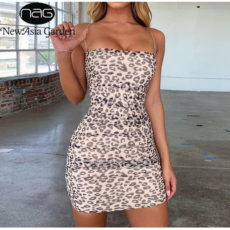 NewAsia Double Layers Leopard Dress Summer Women 2019 Printed Sheer Ruched Mesh Mini Party Dress Sexy Slim Tight Bodycon Dress