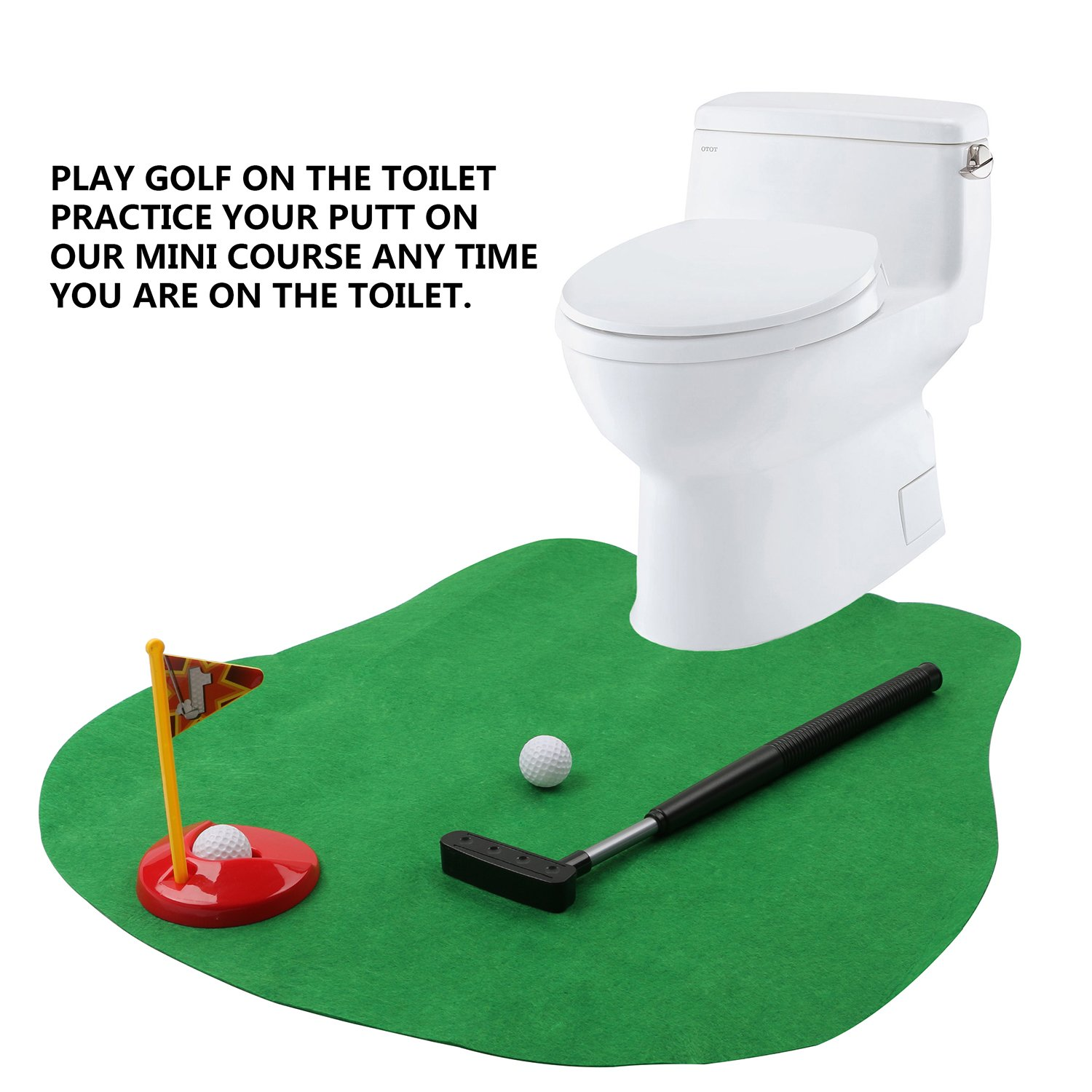Toilet Golf Putter Practice Bathroom Potty Putter Toilet Commode Stool Mat Sets Gift for Boyfriend Bath Room Set Dropshipping