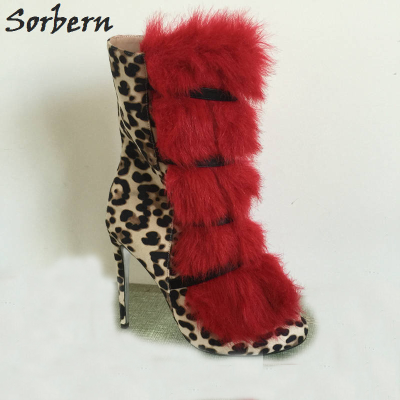 Sorbern Leopard Red Fur Ankle Boots Women Winter Shoes Ladies High Heels Small Toes Custom Short Boots Ladies Large Size 33-46