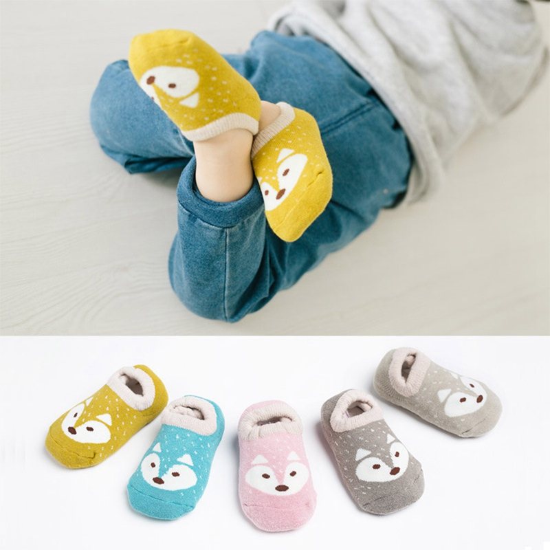 Cotton Baby Boys Girls Socks Rubber Non-Slip Floor Socks Cartoon Animal Fox Pattern Kids Autumn Winter Socks 1-8 Years Old