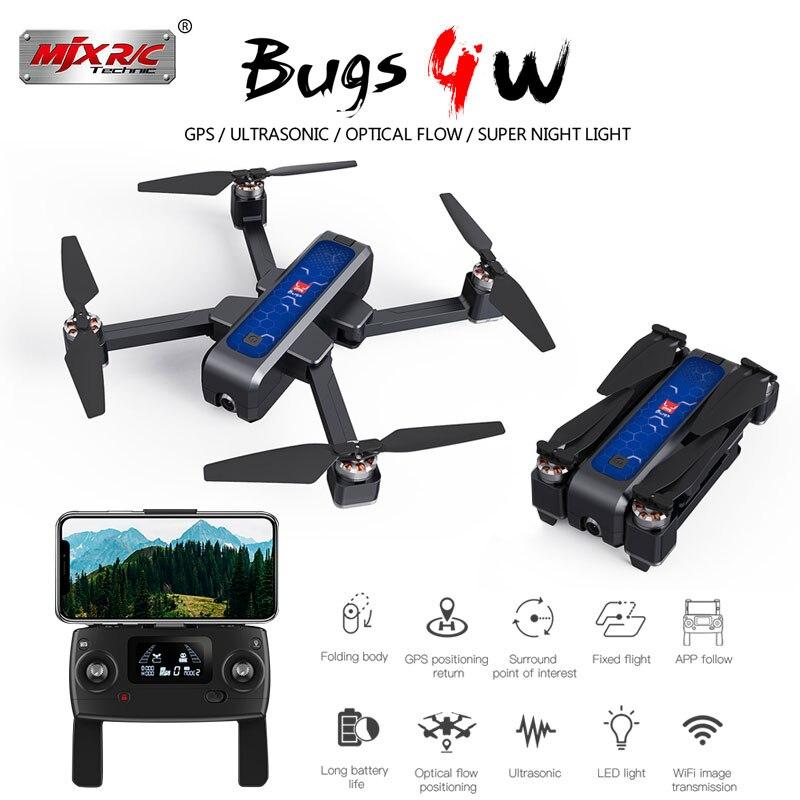 Mjx bugs 4 w b4w 5g gps sem escova dobrável zangão com wifi fpv 2 k hd câmera anti-agitação 1.6 km 25 minutos de fluxo óptico rc quadcopter