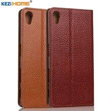 "Чехол для Sony Xperia Z5 kezihome личи Натуральная кожа флип Стенд кожаный чехол Капа для Sony Z5 5.2 ""телефон случаях Coque"