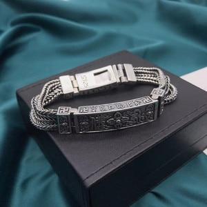 Image 3 - 100% Pure 925 Sterling Silver Bracelets for Women Men Fine Jewelry Vintage S925 Solid Mantra Thai Silver Chain Bracelet