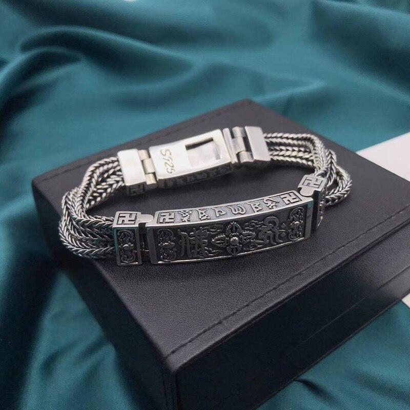 Image 3 - 100% czysta 925 bransoletki ze srebra wysokiej próby dla kobiet mężczyzn elegancka biżuteria w stylu Vintage S925 solidna Mantra Thai Silver Chain BraceletBransoletki i obręcze   -