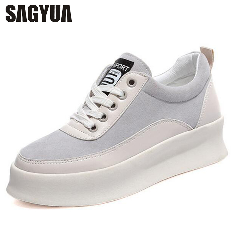 SAGYUA Women Lady Fashion Spring Autumn Female Soft Thick Soled Plimsolls Walks Zapatos Casual Loafers Flat Shoes Moccasins T430 sagyua hot fashion stitchwork rose spring students maiden women zapatos casual female sapatos flat shoes chaussures flattie t136