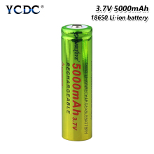 12468x Large Capacity 5000mAh 18650 37V Rechargeable Li Ion Batteries Green+yellow Lithium Battery Power Bank Torch Bateria