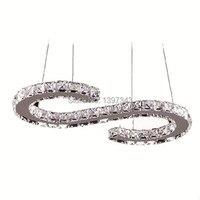 Wonderland Modern Luxury Design LED S Shape Crystal Chandelier Lighting Size 57 28cm Pendant Lamp Fast