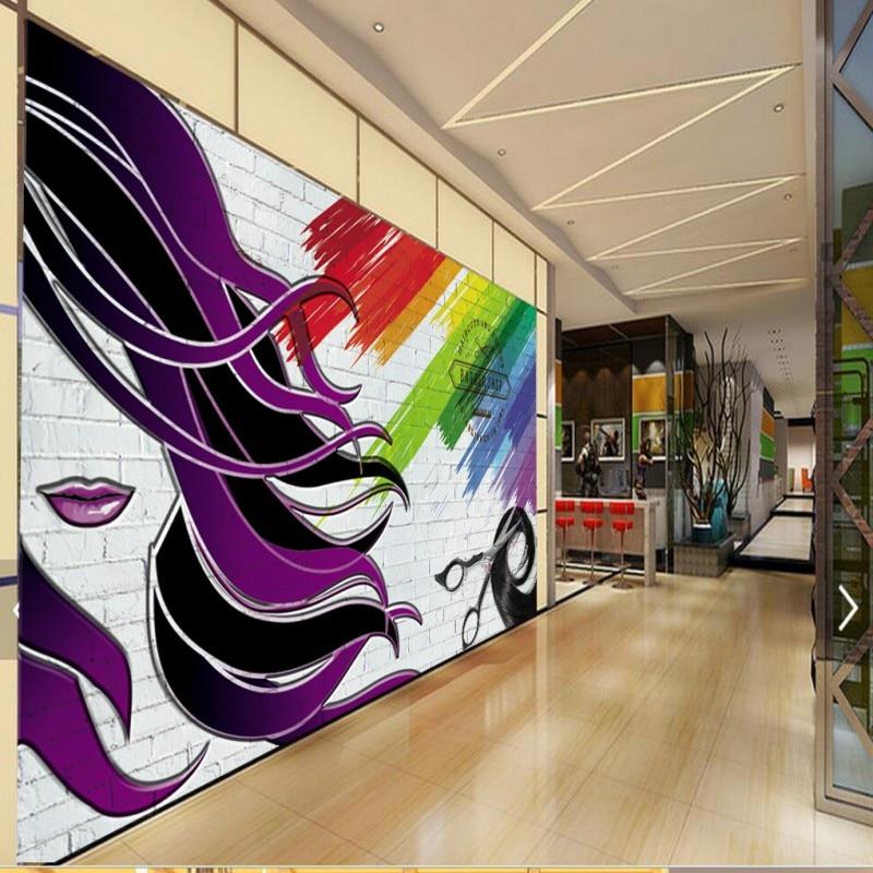Photo wallpaper barber shop 3d stereo wallpaper high for Salon wallpaper