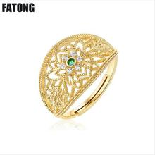 925 sterling silver red spinel green zircon light luxury jewelry female hipster personality open ring. J0121