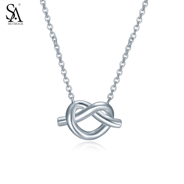 Sa silverage 925 sterling silver necklace knot heart pendant for sa silverage 925 sterling silver necklace knot heart pendant for women real silver jewelry necklace best aloadofball Images