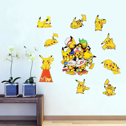 Cute Pokemon Go Game Pikachu Cute Wall Decals Mural Art Vinyl Sticker Kids Babay Room Decor Wall Sticker Wholesale