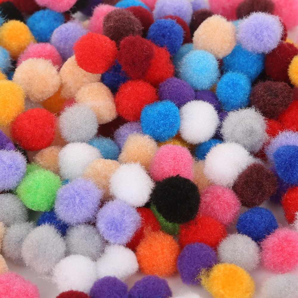 300 Buah 10 Mm Warna-warni Pompom Bola Bola Bulu Mewah Campuran Warna Anak-anak Kreatif Buatan Tangan Bahan Glitter Busa Bola DIY kerajinan Persediaan