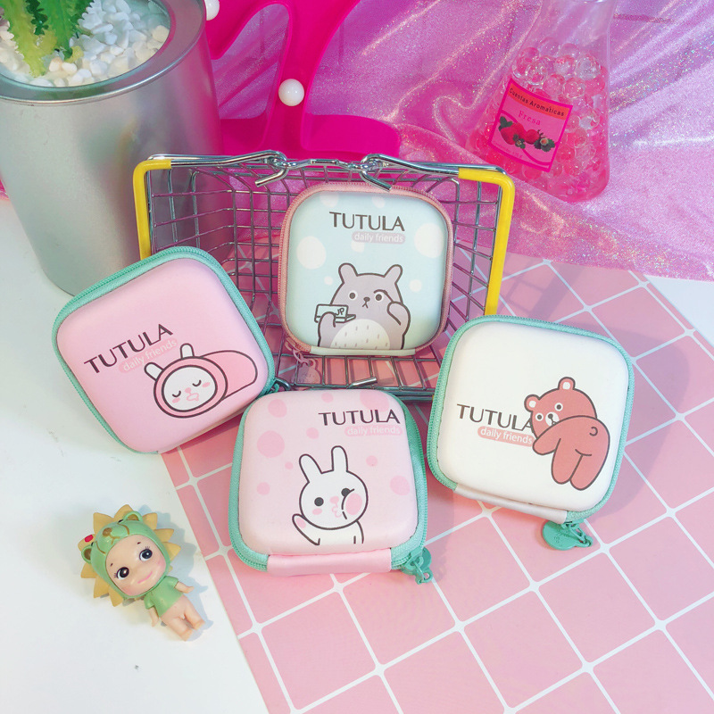 PACGOTH Candy Color Children's Wallet Eva Coin Purse Cartoon Rabbit Bear Mulitifunctions Headphone Bag Data Line Box Packet 1PC pacgoth creative pvc waterproof cute carton candy color purse dessert donuts summer sweet hearts zipper coin purses money bag
