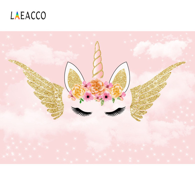 Laeacco Cartoon Flowers Unicorn Wing Baby Children Photography Backgrounds Customized Photographic Backdrops For Photo Studio