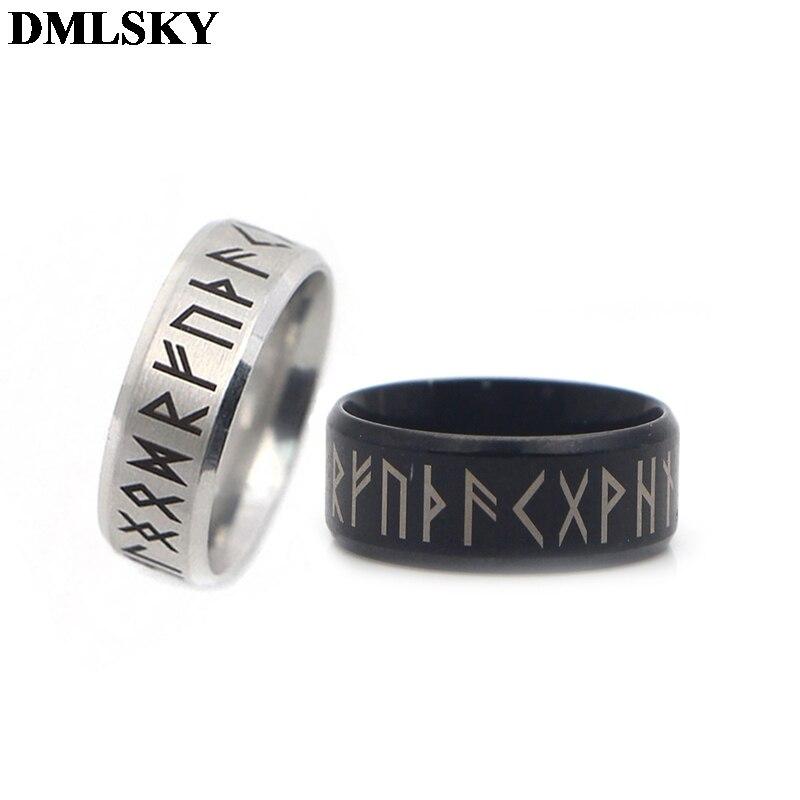 Anillos de vikingos Retro de estilo antiguo DMLSKY amuleto negro anillos de runas nórdicas Vintage anillo Punk de joyería para mujeres y hombres M3670 Kalen nuevo único hombre joyería de acero inoxidable amuleto de motocicleta brazalete de rock punk Durable pulseras de cuero barato regalo