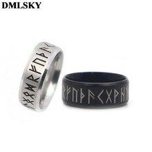 Dmlsky antigo estilo retro viking anéis amuleto preto do vintage norse runas anéis jóias punk anel para mulher e homens m3670