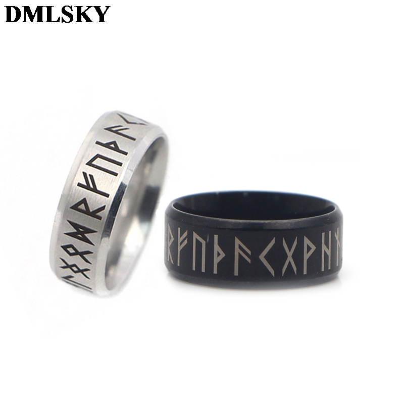 DMLSKY Old Style Retro Viking Rings Black Amulet Vintage Norse Runes Rings Jewelry Punk Ring for Women and Mens M3670