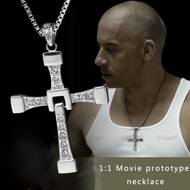 LEMOER The Fast and the Furious 8 Movie Jewelry Celebrity Toretto Crystal Jesus Cross Pendant Necklace for Men Gift