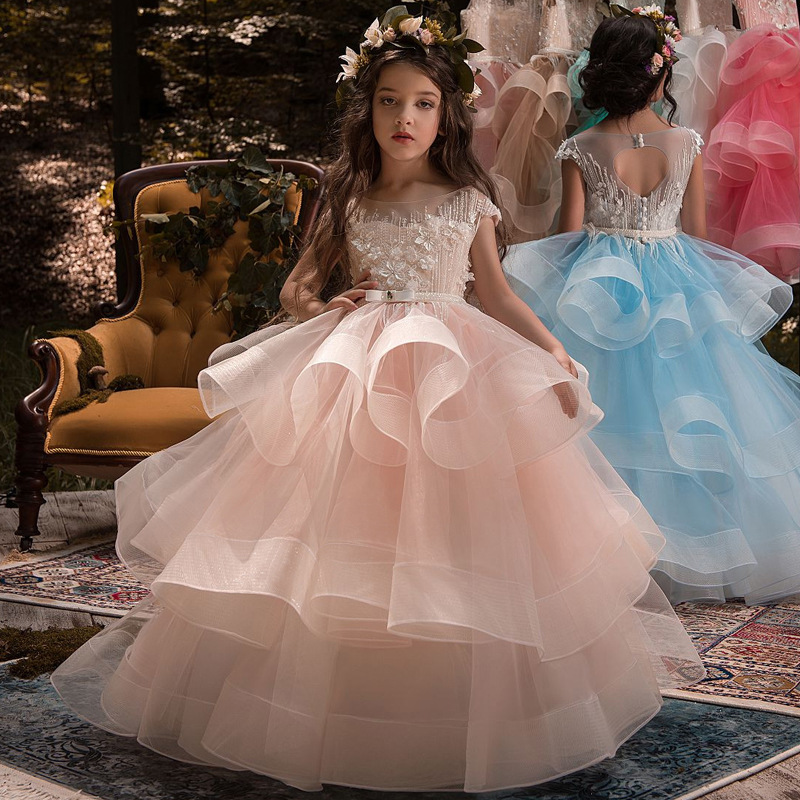 Pink 2019   Flower     Girl     Dresses   For Weddings Ball Gown Cap Sleeves Tulle Beaded Long First Communion   Dresses   For Little   Girls