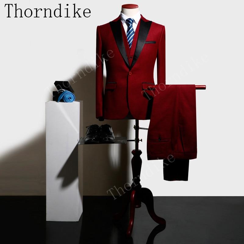 2018 새로운 thorndike 6 색 3pcs 슬림 맞는 정장 남자 정장 부르고뉴 비즈니스 웨딩 신랑 레저 턱시도 최신 코트 바지 디자인-에서정장부터 남성 의류 의  그룹 1