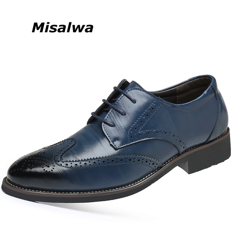 Misalwa Plus Size 38-48 Luxury Men Brogue Leather Oxfords Wedding Office Business Formal Men Dress Shoes Flats Drop Shipping 2017 new fashion men formal leather dress shoes quality brand mens dress oxfords flats plus size 38 46