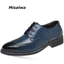 Misalwa Plus Size 38-48 Luxury Men Brogue Leather Oxfords Wedding Office Business Formal Men Dress Shoes Flats Drop Shipping