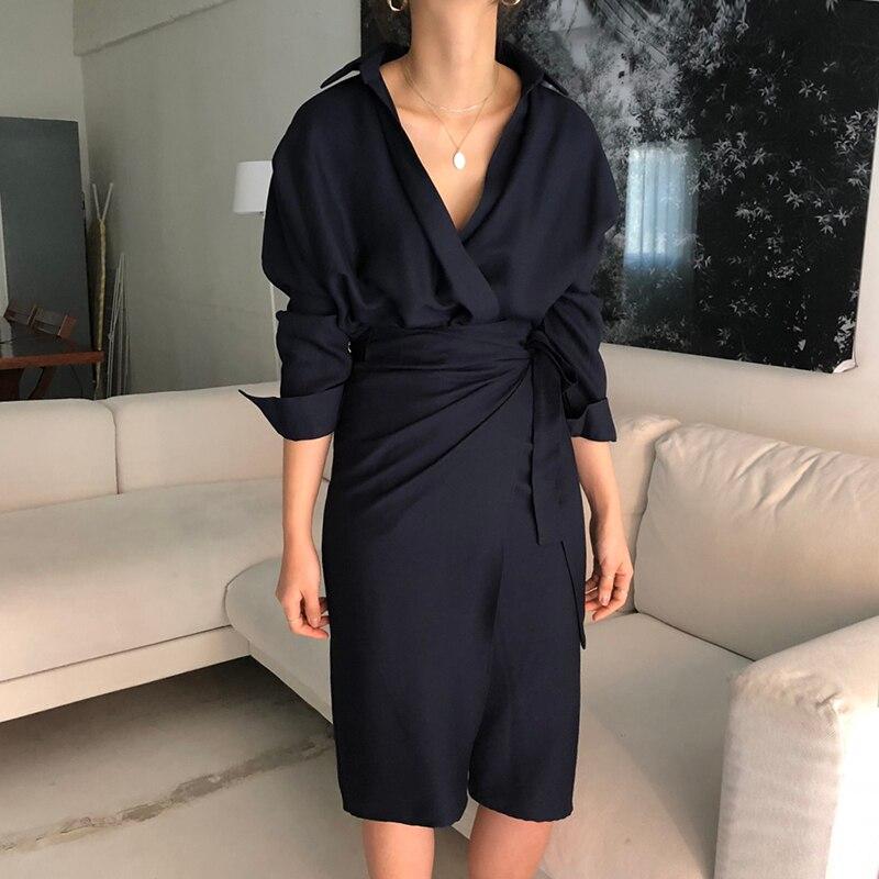 CHICEVER Bow Bandage Dresses For Women V Neck Long Sleeve High Waist Women's Dress Female Elegant Fashion Clothing New 19 6