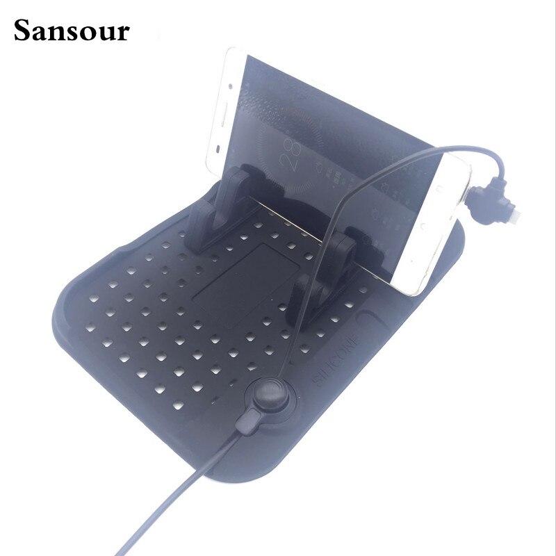 Sansour Car changer stand Magnet charging <font><b>phone</b></font> <font><b>holder</b></font> Auto Dual-plug universal <font><b>mobile</b></font> <font><b>magnetic</b></font> mount Anti-slip organizer