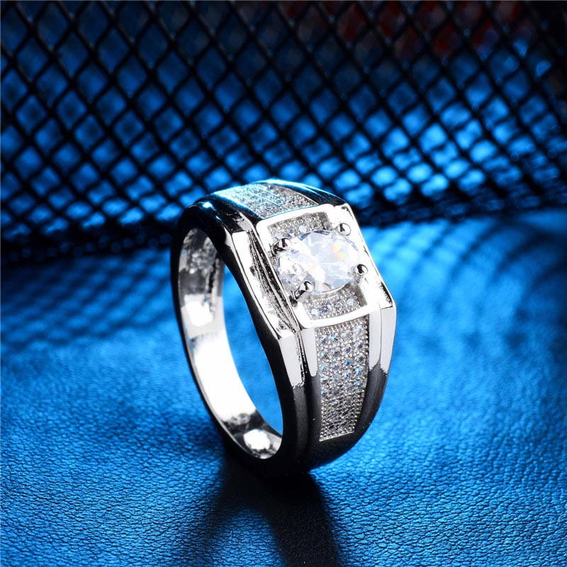 Ring Size 9 Fashion Women 1pc Terrific Super Silver White Zircon Engagement Band Bijoux Female Jewelry Size 9 titanium ring