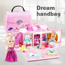 Doll House handbag hand bag Furniture Diy Miniature Dollhouse Birthday Gift home Model Building toy house doll Toys for Children(China)