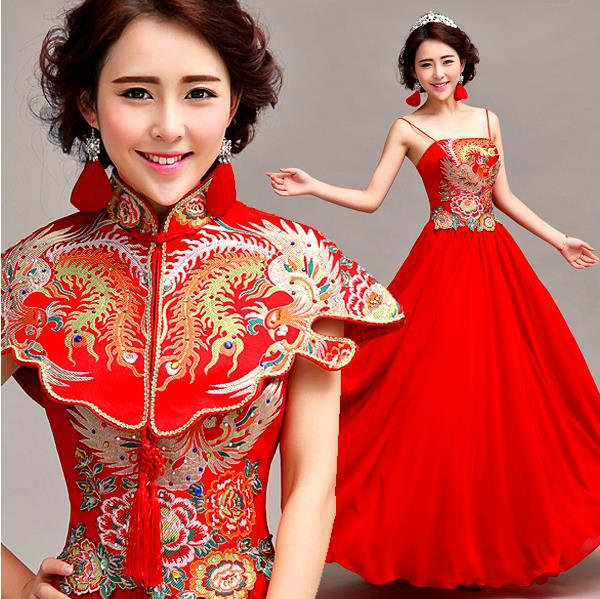 e9f9052ec Fashionable New Red Bride long cheongsam dress chinese traditional dress  qipao Prom dresses 2015 evening dresses gown E173
