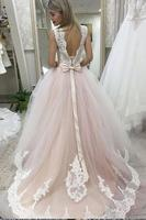 Pale Pink Court Train Wedding Dress with Lace Appliques Sleeveless Bridal Dress Wedding Dress
