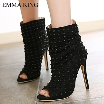 EMMA KING Black Rivet Party Womens Sandals Nightculb Dancing Shoes Pump Toes Cover Heel Size 35-43 Thin High Heel Ankle Fashion