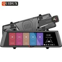 QUIDUX 10 Inch Car Rear View Mirror DVR FHD 1080P Video Camera Recorder Dual Lens 1