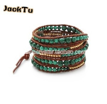 3mm 4mm 6mm Phoenix Stone gold nuggets leather wrap bracelet