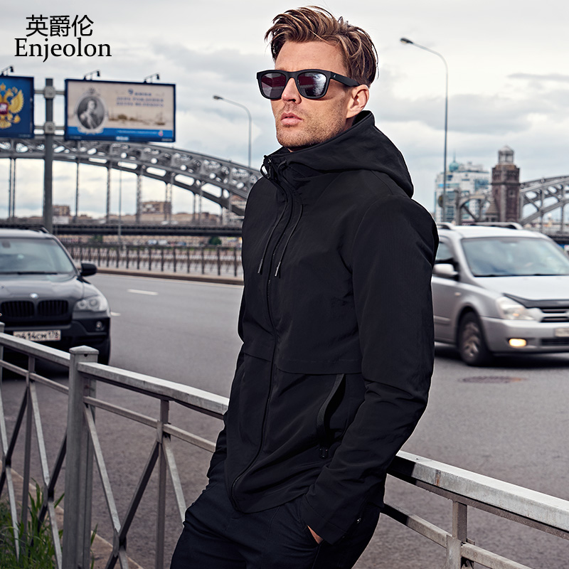 Enjeolon brand fall hoodies Bomber jackets coat men fashion black solid Mens coats clothing,hooded Jacket Men clothes JK0422