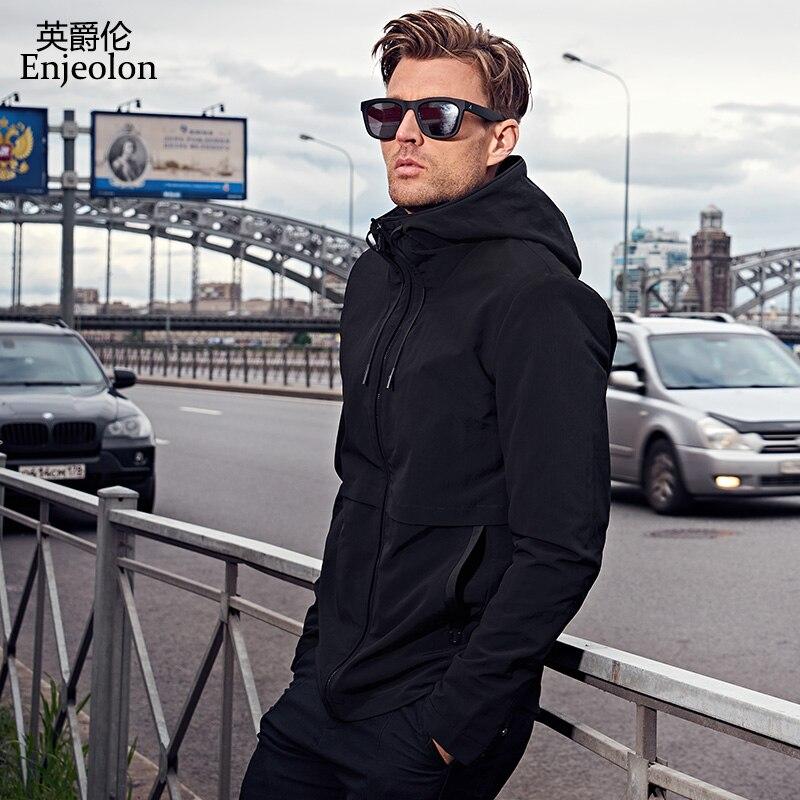 Enjeolon marque automne hoodies blousons d'aviateur manteau hommes mode noir solide Mens manteaux vêtements, veste à capuche Hommes vêtements JK0422